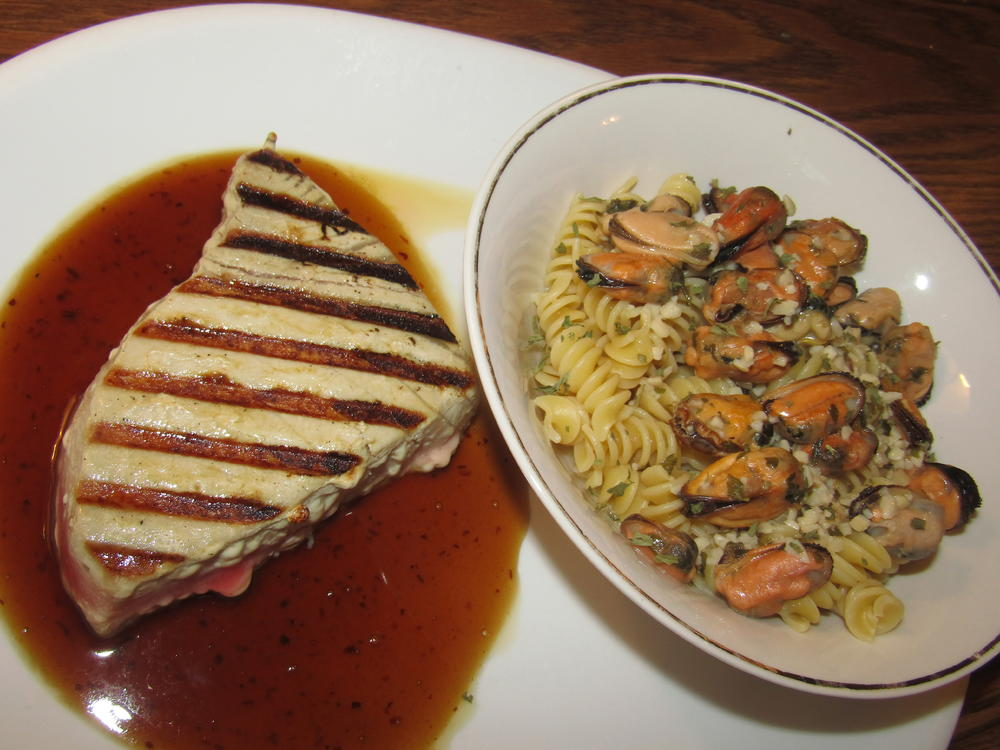 Name:  Ahi Grilled, Orange Sauce ; Rotini & Mussels in Garlic Butter.jpg