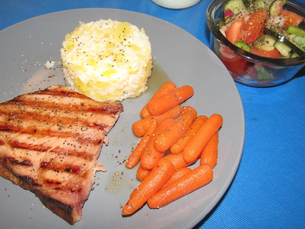 Name:  Ham Steak, Grilled, Pineapple Rice, Honeyed Carrots.jpg Views: 30 Size:  129.8 KB