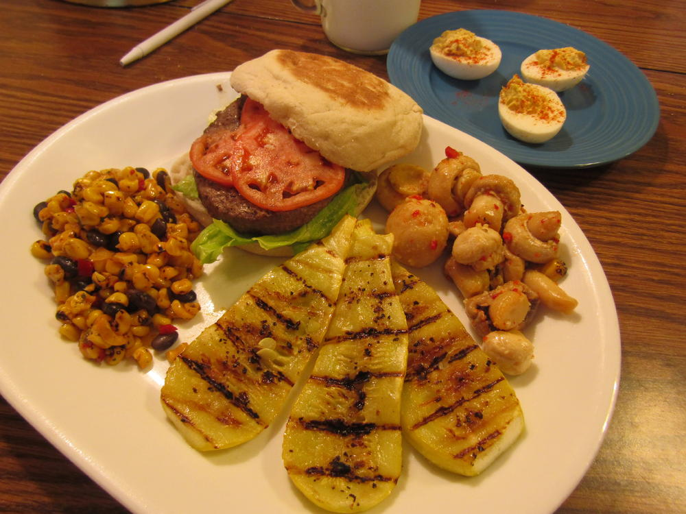 Name:  Muffin Burger, Roasted Corn Salad, Grilled Yellow Squash, Marinated Mushrooms.jpg