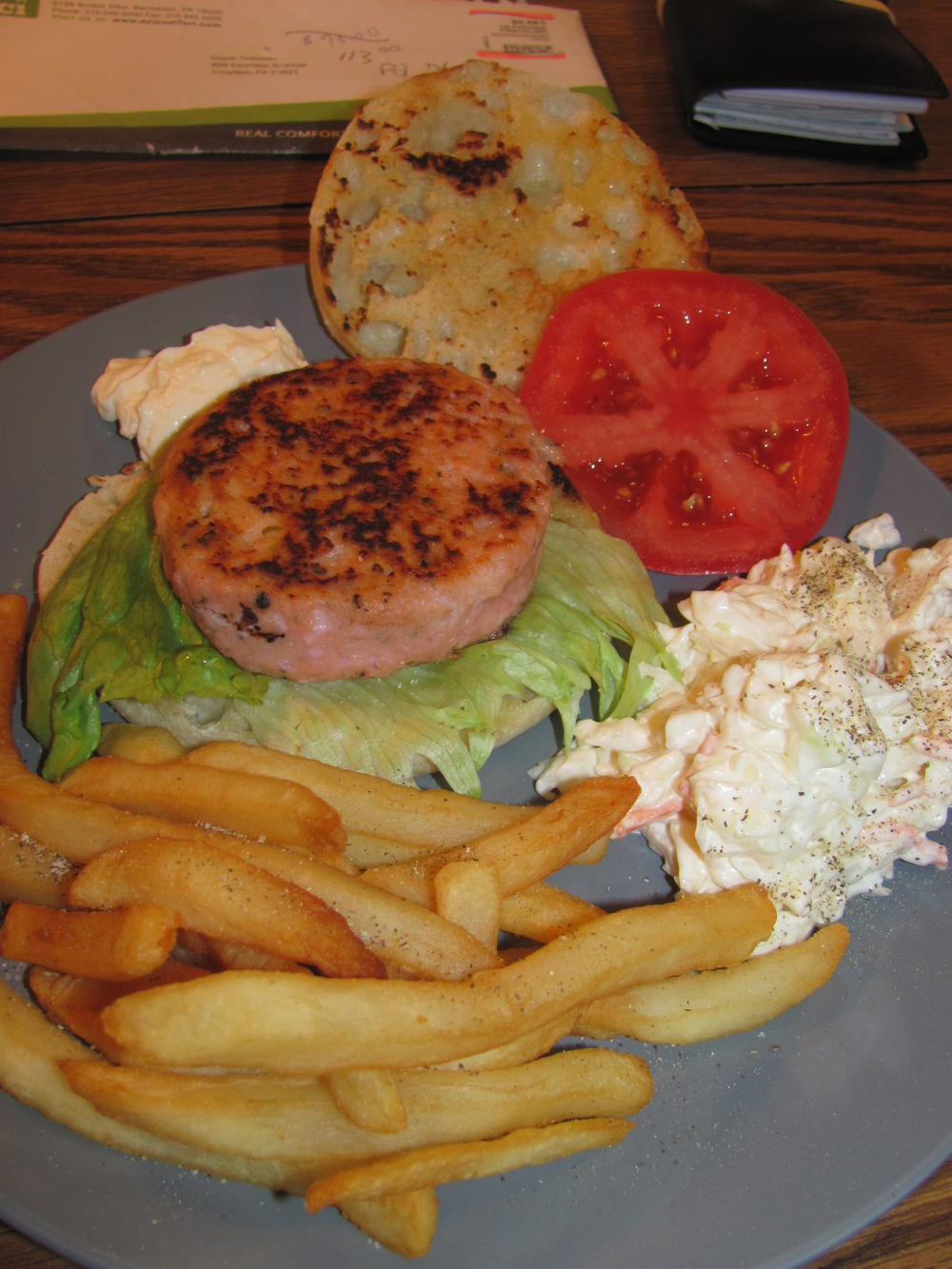 Name:  Salmon Muffin Burger, Fries, Slaw.jpg