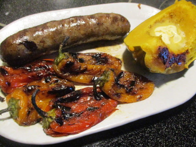 Sausages and peppers plated.JPG