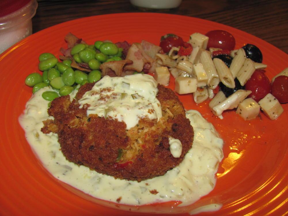 Name:  Shrimp & Crab Cake, Edamame with Bacon, Ficaccio Pasta Salad .jpg Views: 97 Size:  91.2 KB