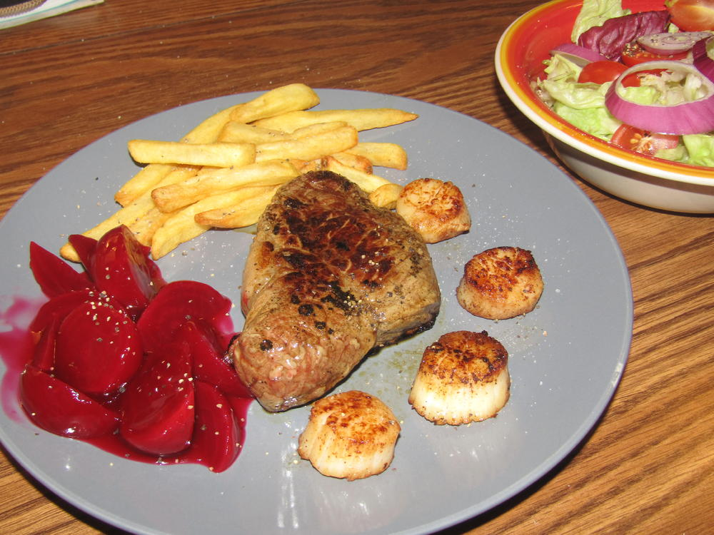 Name:  Steak ans Scallops, Harvard Beets.jpg