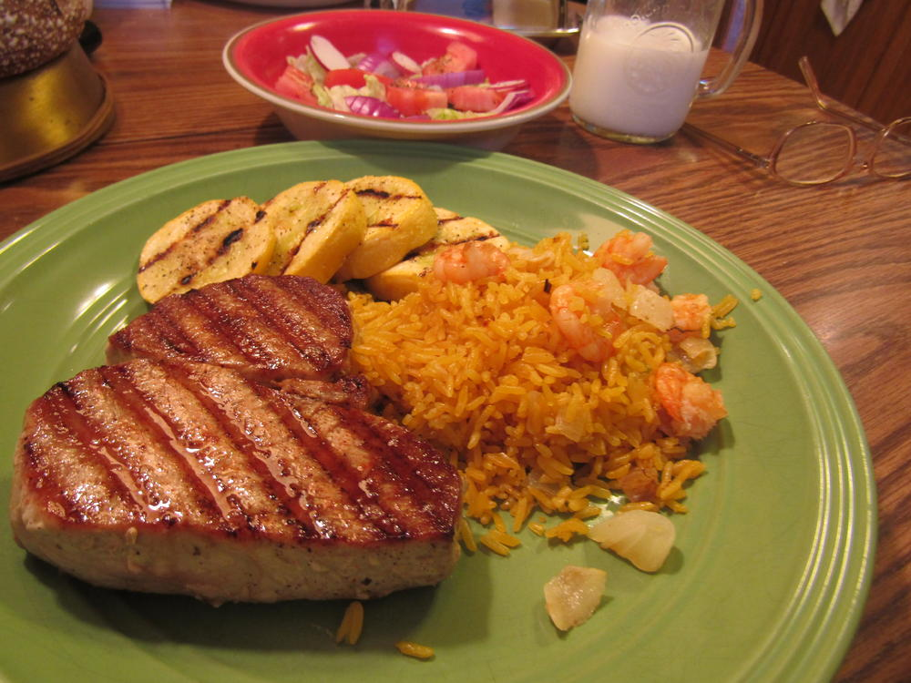 Name:  Tuna Seared, Shrimp Rice, Yellow Squash .jpg